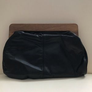 Vintage black leather clutch by Banner house